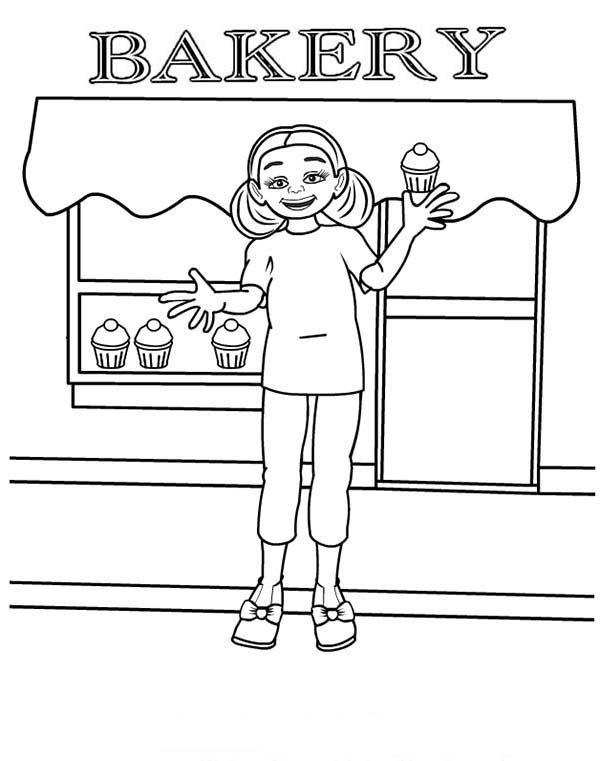 Bakery, : Selling Cupcake in Bakery Store Coloring Pages
