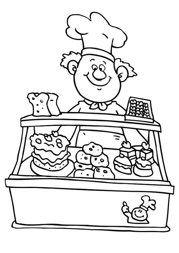 Bakery, : Selling Various Cake at Bakery Coloring Pages