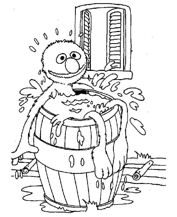 Bath, : Sesame Street Bath Time Coloring Pages