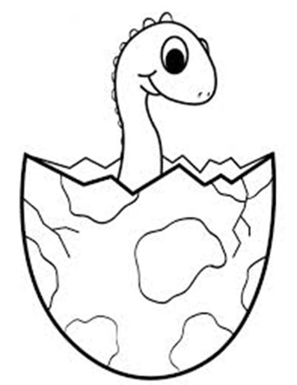Baby Dinos, : Shy Baby Dinos Come from Egg Coloring Pages