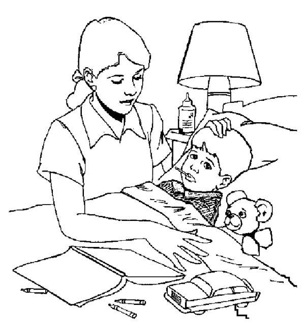 Hospital, : Sick Kid Need to Bring to Hospital Coloring Pages