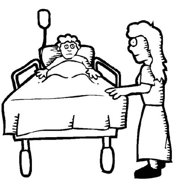Hospital, : Sick Kid and His Mother at Hospital Coloring Pages