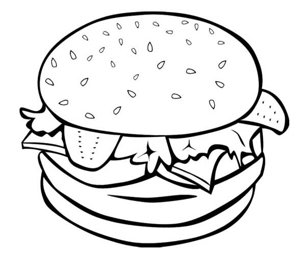 Foods, : The Big Burger for Fast Food Coloring Pages