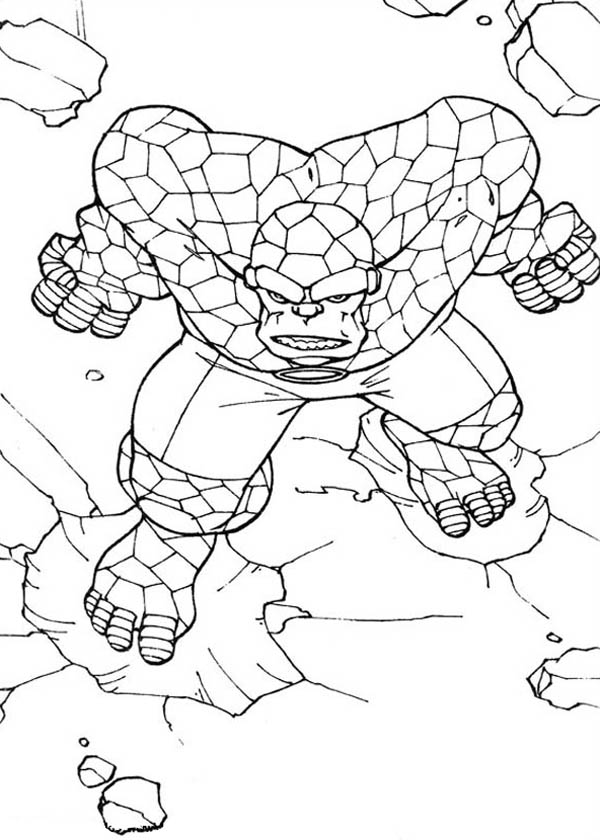 Fantastic Four, : Thing Going Berserk in Fantastic Four Coloring Pages