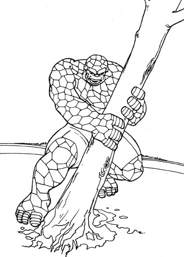 Fantastic Four, : Thing Pulling a Tree Out in Fantastic Four Coloring Pages