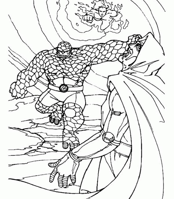 Fantastic Four, : Thing Punch Doctor Doom in the Face in Fantastic Four Coloring Pages