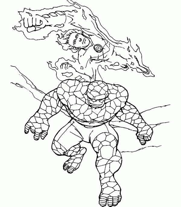 Fantastic Four, : Thing and Human Torch Co-Operating in Fantastic Four Coloring Pages