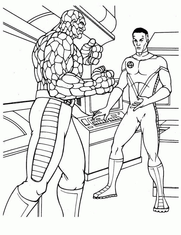 Fantastic Four, : Thing and Mister Fantastic Discussion in Fantastic Four Coloring Pages