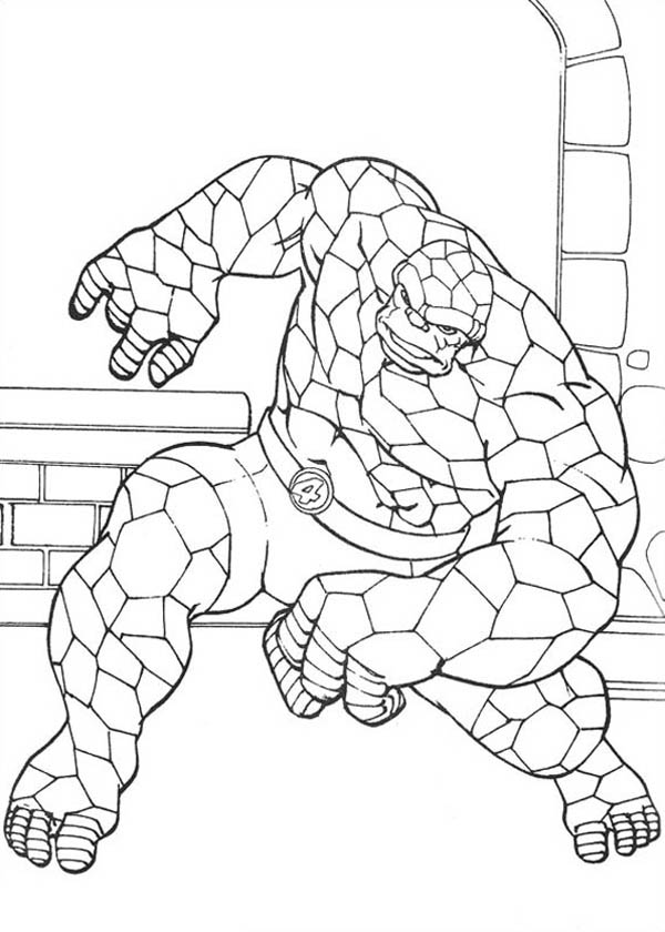 Fantastic Four, : Thing in Action in Fantastic Four Coloring Pages