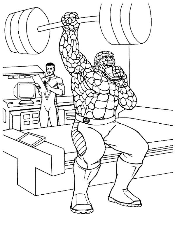 Fantastic Four, : Thing is in Training in Fantastic Four Coloring Pages