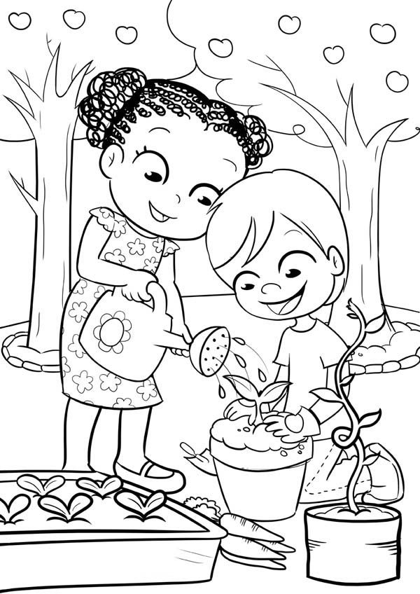 Gardening, : This Two Kids is Like Gardening Coloring Pages