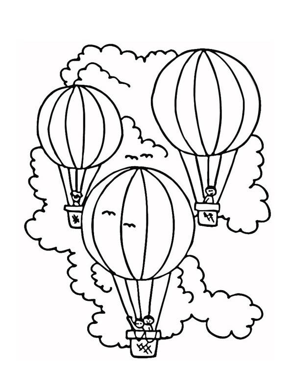 Hot Air Balloon, : Three Hot Air Balloon Coloring Pages