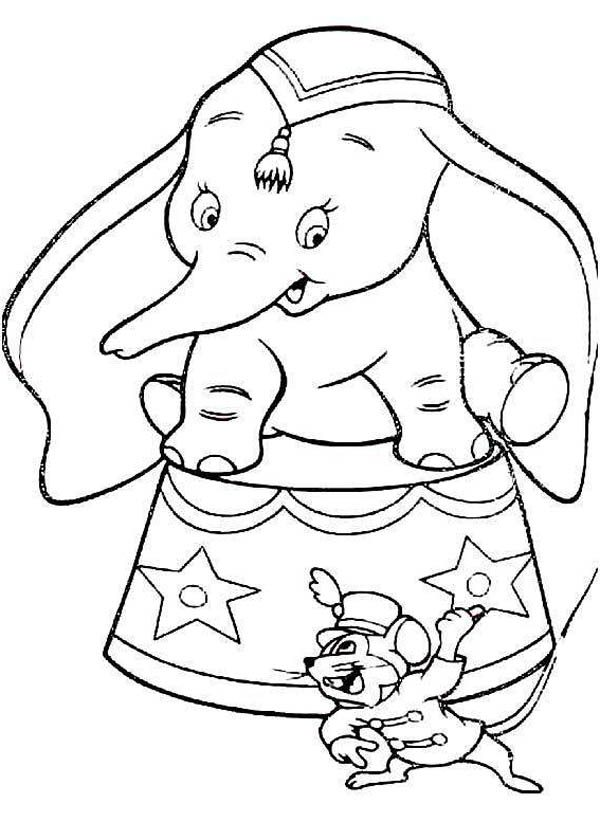 Dumbo the Elephant, : Timothy Introducing Dumbo the Elephant to Audience Coloring Pages