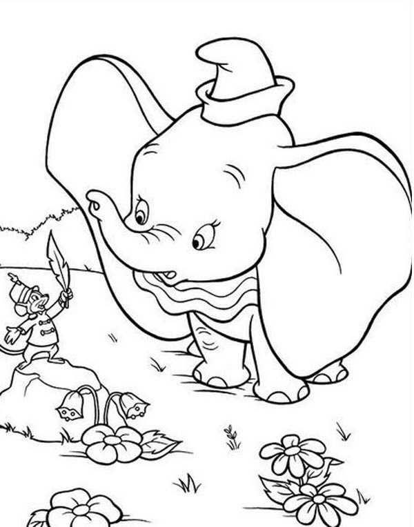 Dumbo the Elephant, : Timothy Talking to Dumbo the Elephant Coloring Pages