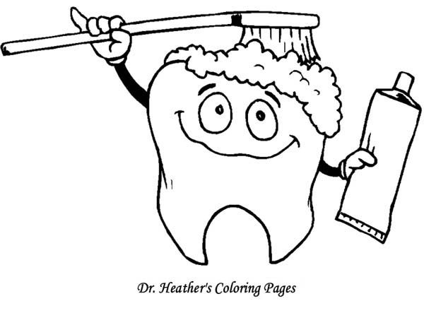 Dentist, : Tooth Brushing Himself at Dentist Coloring Pages