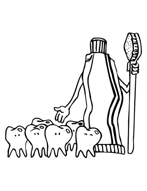 Dentist, : Tooth Paste and Group of Teeth at Dentist Coloring Pages