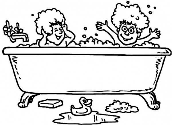Bath, : Two Kids Take a Bath with Rubber Duck Coloring Pages