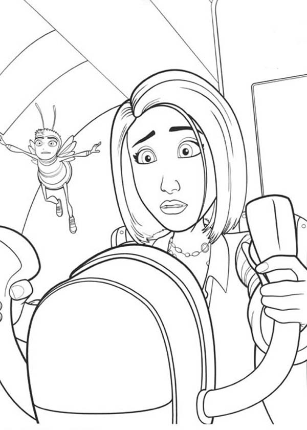 Bee Movie, : Vanessa Try to Drive an Airplane in Bee Movie Coloring Pages