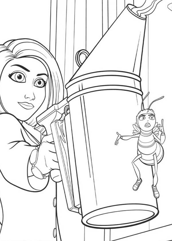 Bee Movie, : Vanessa Watering Flower with Barry in Bee Movie Coloring Pages