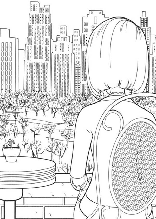 Bee Movie, : Vanessa and Barry Sitting Watching Town in Bee Movie Coloring Pages