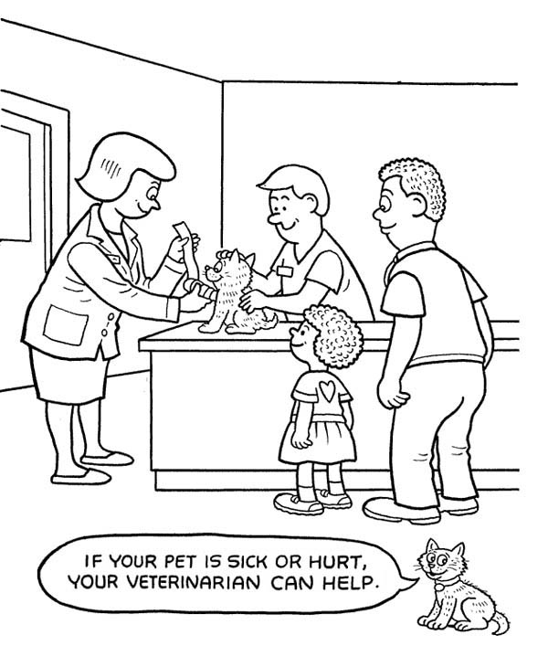 Hospital, : Veterinarian at Pet Hospital Coloring Pages