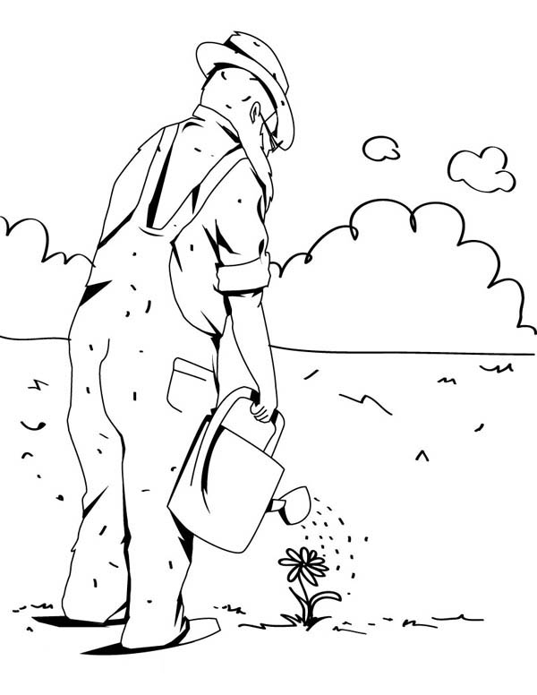 Gardening, : Watering Flower in Gardening Coloring Pages