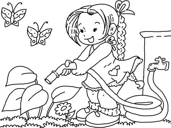 Gardening, : Watering Flower with Hose Gardening Coloring Pages