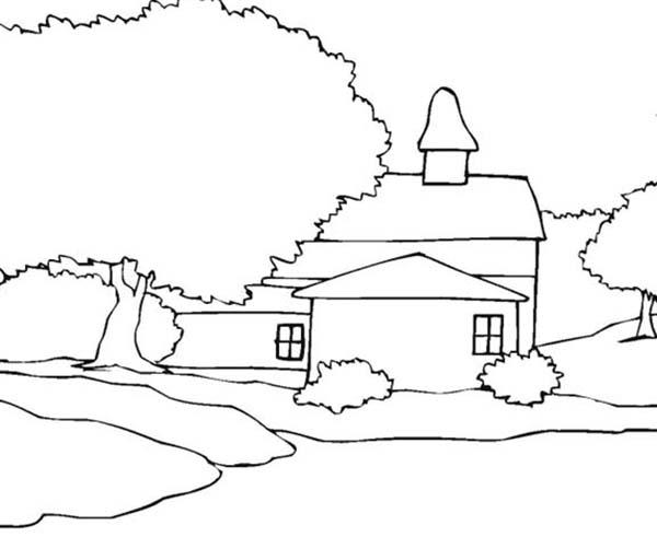 Landscapes, : A House Landscapes Coloring Pages