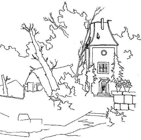 Landscapes, : Abandon House Landscapes Coloring Pages