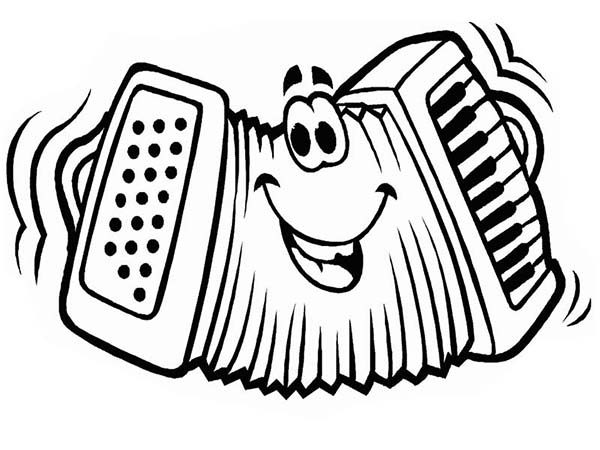 Musical Instruments, : Accordion Funny Face in Musical Instruments Coloring Pages