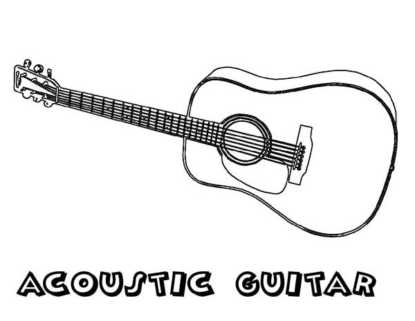 Musical Instruments, : Acoustic Guitar is a Musical Instruments Coloring Pages
