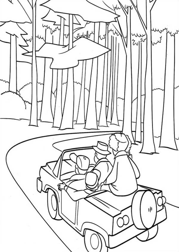 Oliver and Company, : Adventure in Timber National Forest in Open Season Coloring Pages