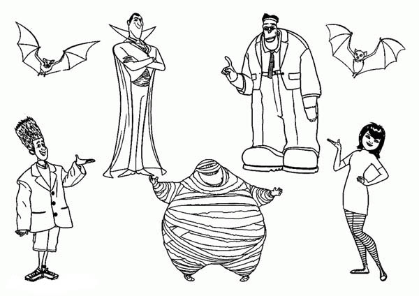 Hotel Transylvania, : All Famous Characters from in Hotel Transylvania Coloring Pages