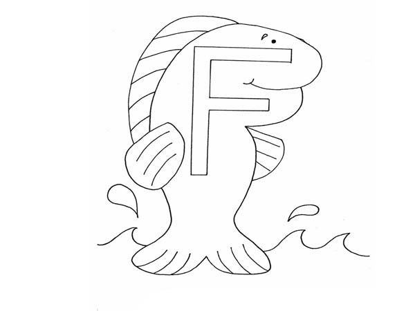 Letter F, : Alphabet Letter F for Fish Coloring Page