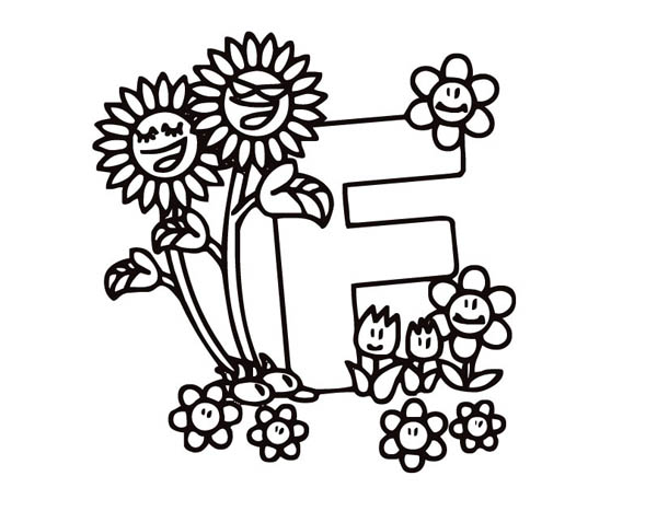 Letter F, : Alphabet Letter F is for Flower Coloring Page