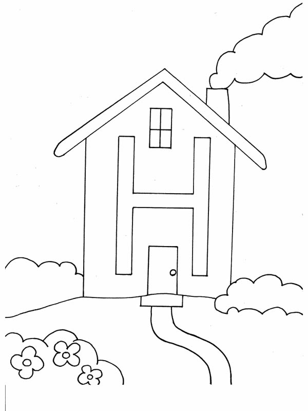 Letter H, : Alphabet Letter H is for House Coloring Page