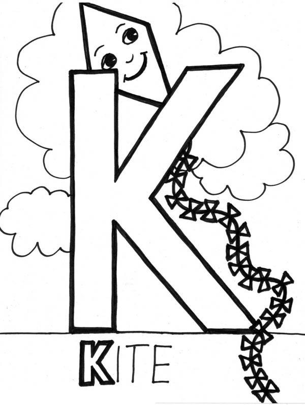 Letter K, : Alphabet Letter K Coloring Page