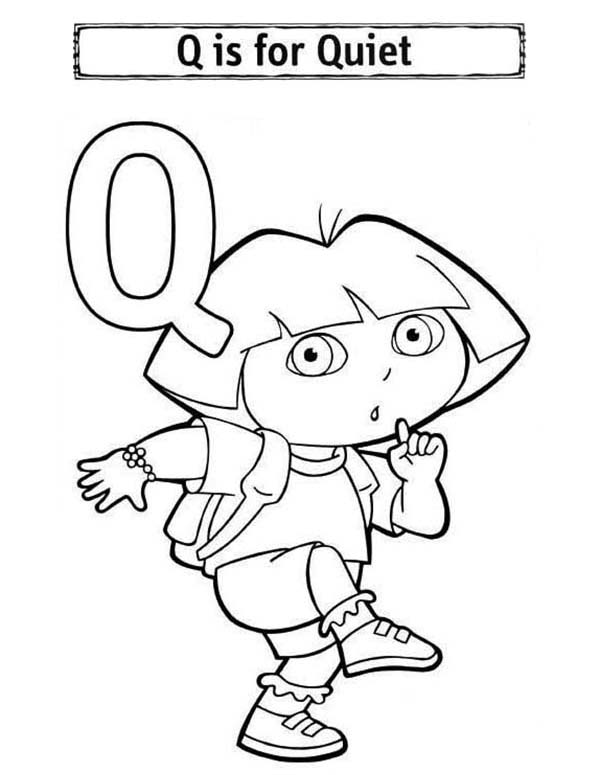 Letter Q, : Alphabet Letter Q for Quiet Coloring Page