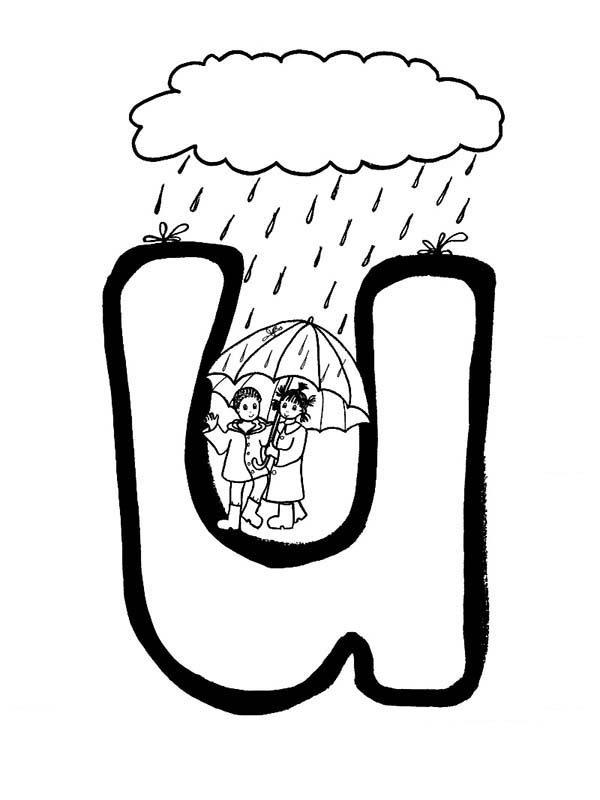 Letter U, : Alphabet Letter U for Umbrella Coloring Page