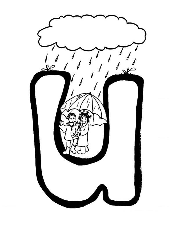 Letter U, : Alphabet Letter U for Umbrella Coloring Page