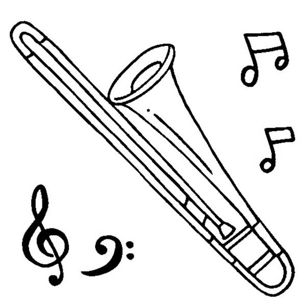 Musical Instruments, : Alto Trombone is a Musical Instruments Coloring Pages