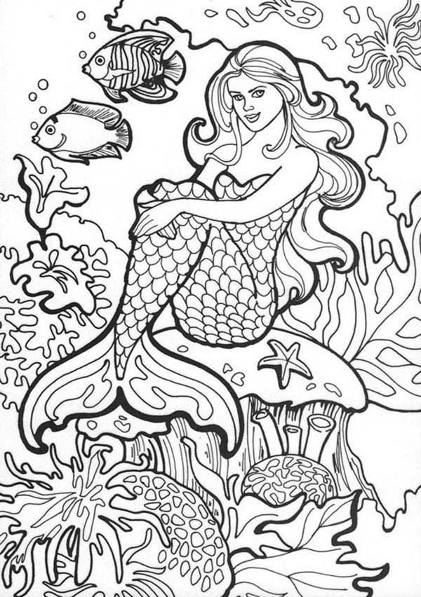 Mermaid, : Amazing Drawing of Mermaid Coloring Pages