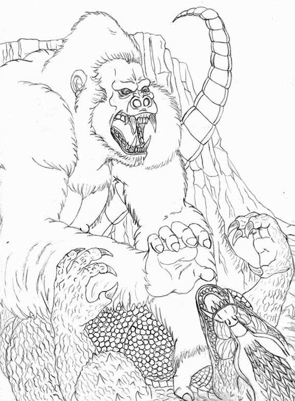 King Kong, : Amazing Fight Godzilla with King Kong Coloring Pages