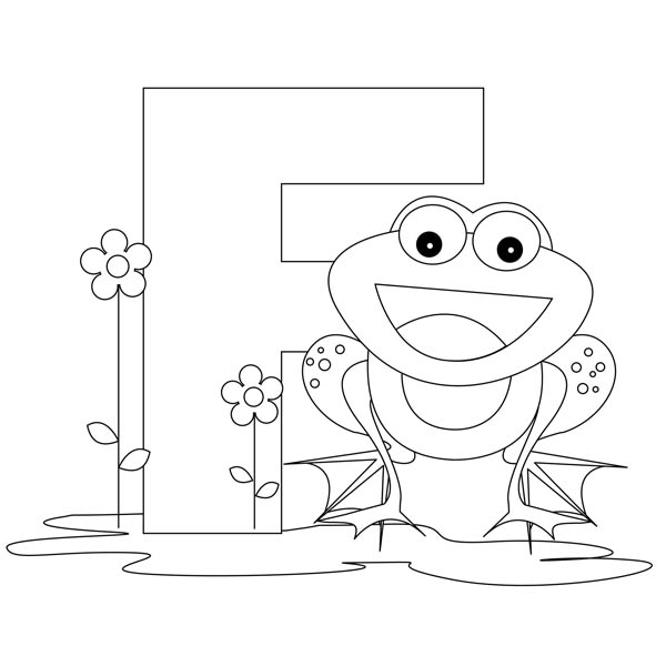 Letter F, : Animal Alphabet Letter F for Frog Coloring Page