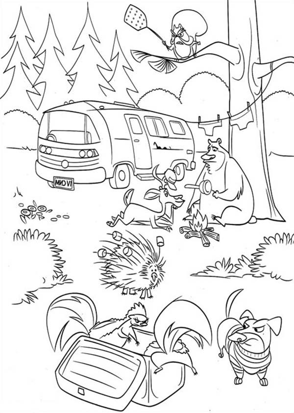 Oliver and Company, : Animal are Angry in Open Season Coloring Pages