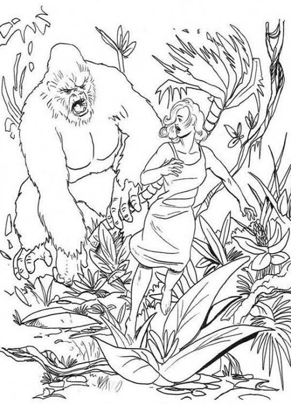 King Kong, : Ann Darrow Try to Escape from King Kong Coloring Pages