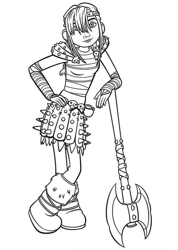 How to Train Your Dragon, : Astrid Standing with her Axe in How to Train Your Dragon Coloring Pages