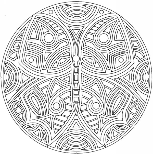 Mandala Animal, : Awesome Butterfly Mandala Animal Coloring Pages