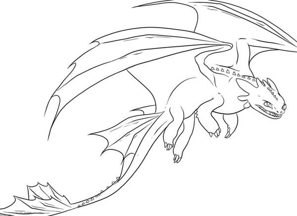 How to Train Your Dragon, : Awesome Night Fury Drawing in How to Train Your Dragon Coloring Pages