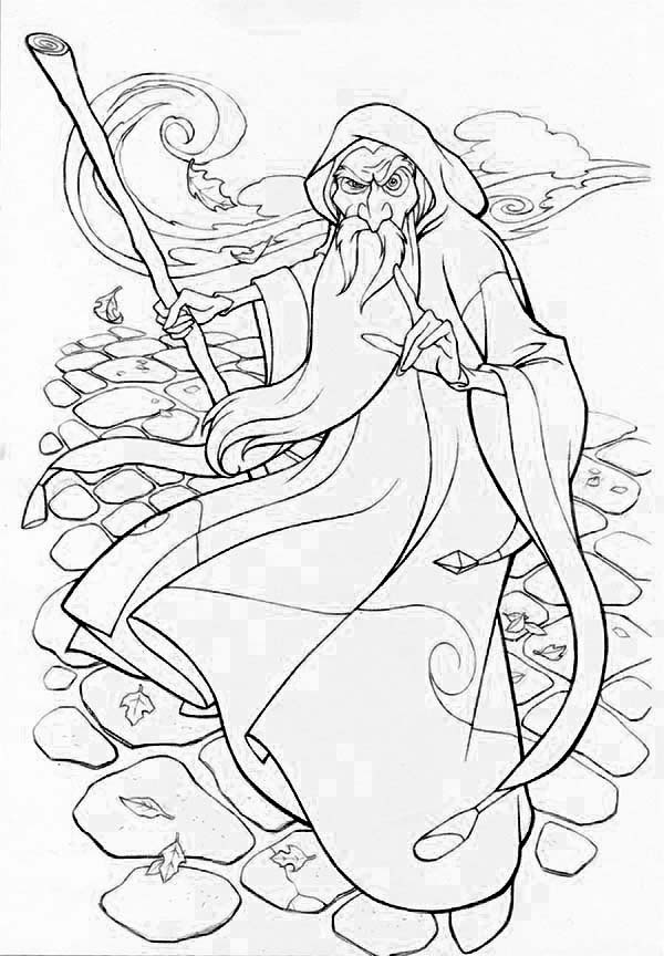 Merlin the Wizard, : Awesome Style of Merlin the Wizard Coloring Pages